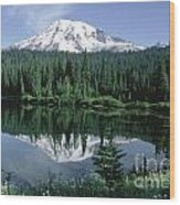 Mt. Ranier Reflection Wood Print
