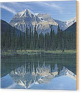Mt Robson Highest Peak In The Canadian Wood Print by Tim Fitzharris