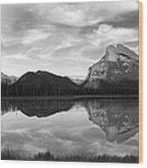 Mt. Rundel Reflection Black And White Wood Print