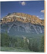 Mt Rundle And The Bow River Wood Print