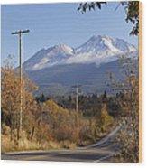 Mt Shasta Autumn Wood Print