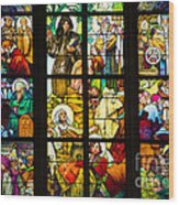 Mucha Window St Vitus Cathedral Prague Wood Print by Matthias Hauser