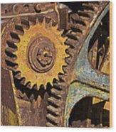Mud Caked Gears Wood Print