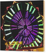 Multi Colored Ferris Wheel Wood Print