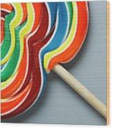 Multicoloured Lollipop, Close-up Wood Print
