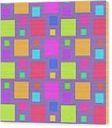 Multicoloured Squares Wood Print by Louisa Knight