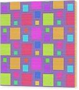 Multicoloured Squares Wood Print