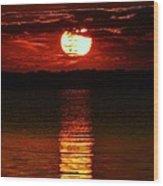 Multiline Sunset Wood Print