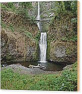 Multnomah Falls - Wide View Wood Print