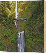 Multnomah Falls At Summer Solstice - Posterized Wood Print