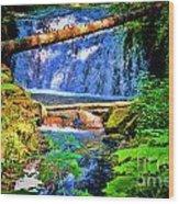 Multnomah Falls Oregon Wood Print
