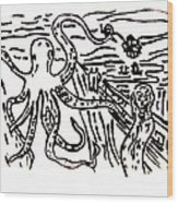 Munch On Octopussy A Tribute To Munch With Romantic Octopus Pier Screaming Boats Lake Flower Love Wood Print