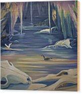 Mural Death In Autumn Wood Print