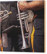 Music - Trumpet - Police Marching Band  Wood Print by Mike Savad