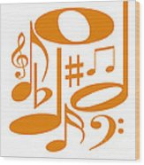 Musical Orange Wood Print