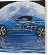 Mustang Reflection Wood Print