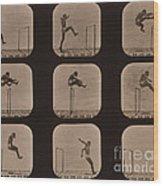 Muybridge Locomotion Of Man Jumping Wood Print by Photo Researchers