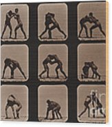 Muybridge Locomotion, Men Wrestling Wood Print