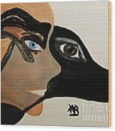 My Beloved Greyhound And Me Wood Print by Marie Bulger