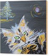My Calico Cat Wizard Wood Print