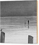My First Walk On Water Bw Wood Print