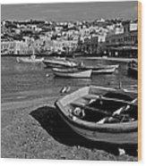 Mykonos Boats Wood Print