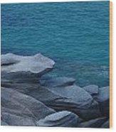 Mykonos Cliff Frog Greece Wood Print