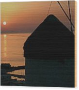 Mykonos Island Sunset Greece Wood Print