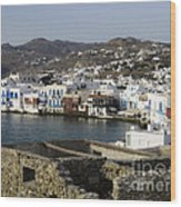 Mykonos Wood Print by Leslie Leda