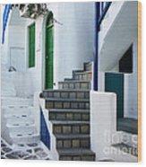 Mykonos Stairs Wood Print
