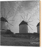 Mykonos Windmills Wood Print by Leslie Leda