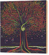 Mystic Spiral Tree Red By Jrr Wood Print