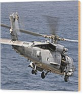 N Hh-60h Sea Hawk Helicopter In Flight Wood Print