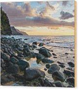 Na Pali Sunset Wood Print by Adam Pender