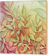 Nandina Leaves Wood Print