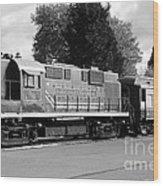 Napa Valley Railroad Wine Train Locomotive In Napa California Wine Country . Black And White . 7d899 Wood Print