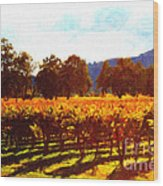 Napa Valley Vineyard In Autumn Colors 2 Wood Print by Wingsdomain Art and Photography