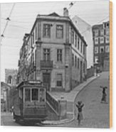 Narrow Streets And Streetcar In Lisbon Wood Print