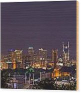 Nashville Cityscape 9 Wood Print by Douglas Barnett
