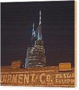 Nashville Downtown Night Scene Wood Print by Douglas Barnett