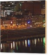 Nashville River Front By Night 1 Wood Print