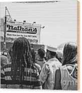 Nathan's Crowd In Coney Island 2 Wood Print