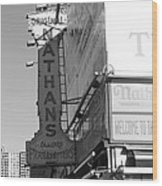 Nathan's Famous At Coney Island In Black And White Wood Print