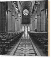 National Cathedral Interior Bw Wood Print
