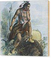 Native American Hunter Wood Print