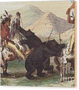 Native American Indian Bear Hunt, 19th Wood Print