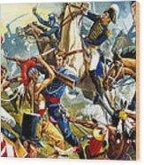 Native American Indians Vs American Soldiers Wood Print