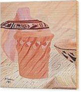 Native American Pottery Wood Print by Alanna Hug-McAnnally