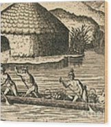 Native Americans Transporting Crops Wood Print