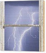 Nature Strikes White Rustic Barn Picture Window Frame Photo Art Wood Print